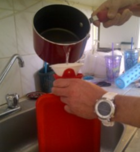 remplir bouillotte